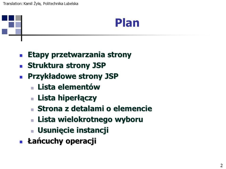 2 Plan Etapy przetwarzania strony Etapy przetwarzania strony Struktura strony JSP Struktura strony JSP Przykładowe strony JSP Przykładowe strony JSP L