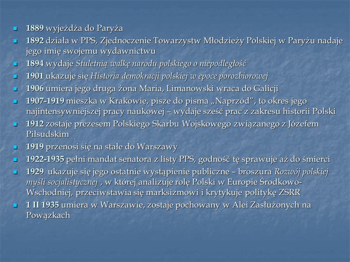 1889 wyjeżdża do Paryża 1889 wyjeżdża do Paryża 1892 działa w PPS, Zjednoczenie Towarzystw Młodzieży Polskiej w Paryżu nadaje jego imię swojemu wydawn