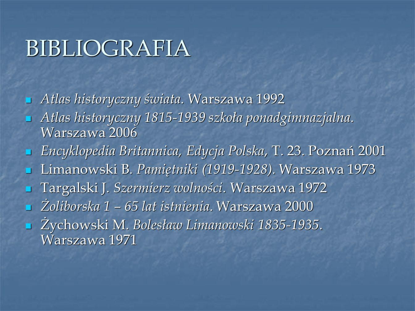 BIBLIOGRAFIA Atlas historyczny świata. Warszawa 1992 Atlas historyczny świata. Warszawa 1992 Atlas historyczny 1815-1939 szkoła ponadgimnazjalna. Wars