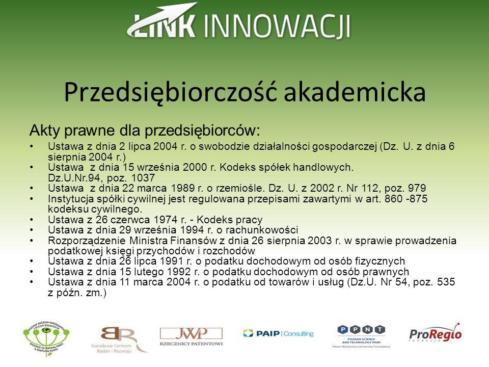 Przedsiębiorczość akademicka Akty prawne dla przedsiębiorców: Ustawa z dnia 2 lipca 2004 r. o swobodzie działalności gospodarczej (Dz. U. z dnia 6 sie