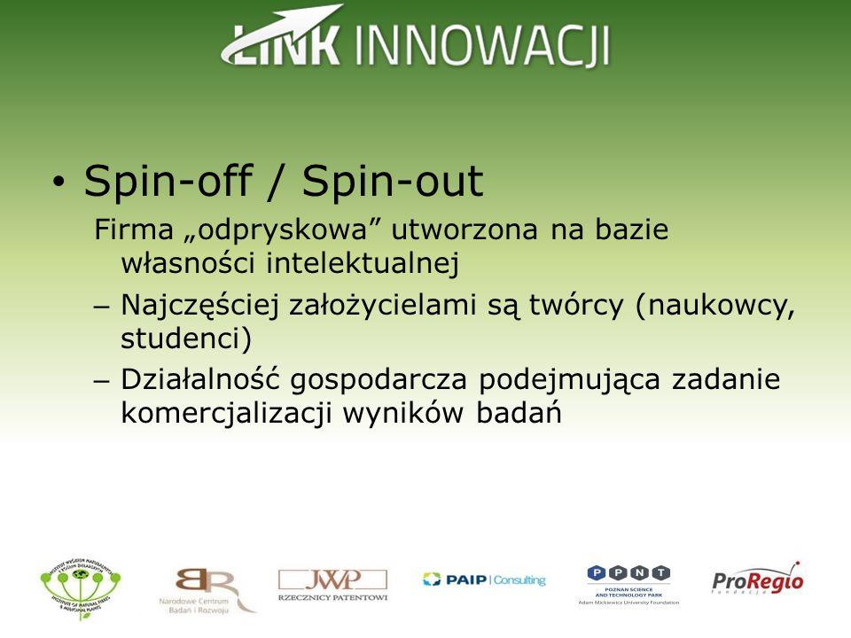Spin-off / Spin-out Firma odpryskowa utworzona na bazie własności intelektualnej – Najczęściej założycielami są twórcy (naukowcy, studenci) – Działaln