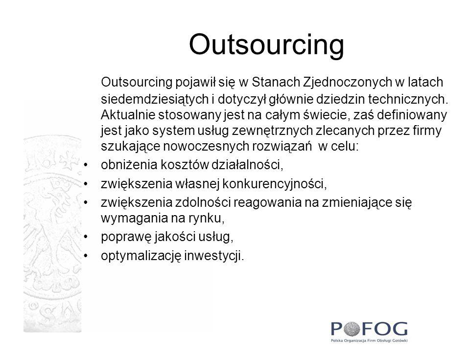 Outsourcing Outsourcing stosowany jest również w bankowości.