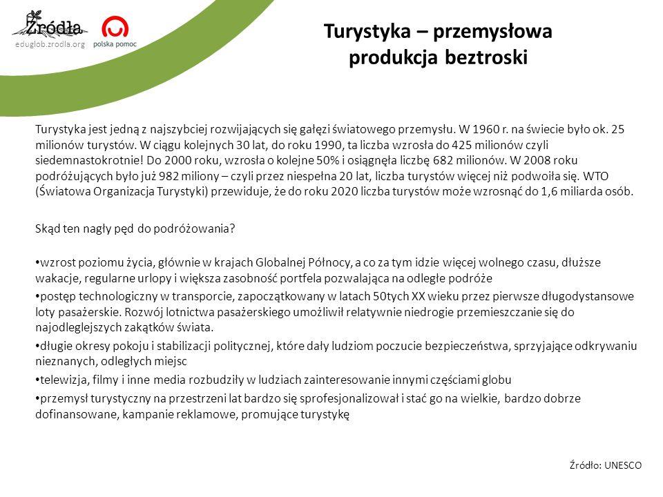 eduglob.zrodla.org Turystyka jest jedną z najszybciej rozwijających się gałęzi światowego przemysłu. W 1960 r. na świecie było ok. 25 milionów turystó