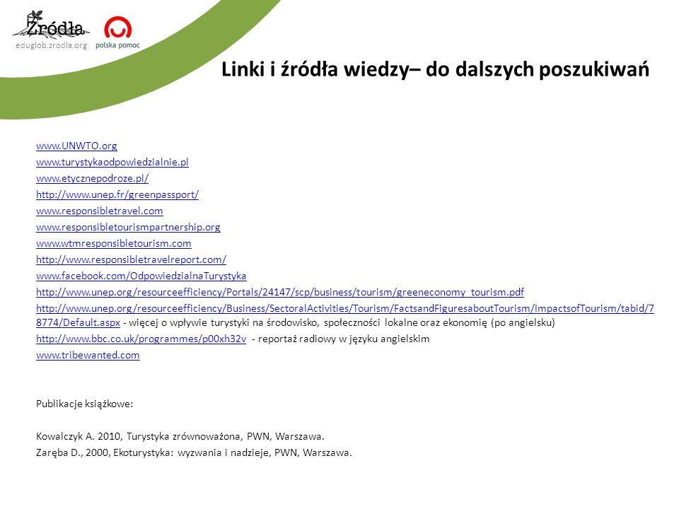 eduglob.zrodla.org www.UNWTO.org www.turystykaodpowiedzialnie.pl www.etycznepodroze.pl/ http://www.unep.fr/greenpassport/ www.responsibletravel.com ww
