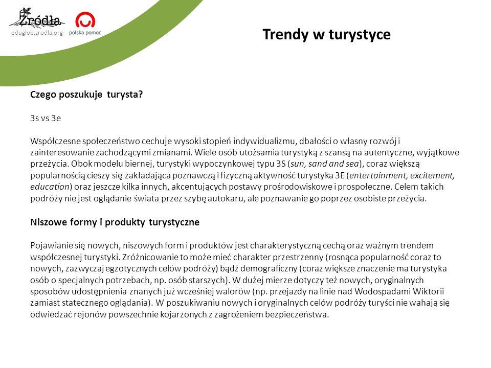 eduglob.zrodla.org Trendy w turystyce Czego poszukuje turysta? 3s vs 3e Współczesne społeczeństwo cechuje wysoki stopień indywidualizmu, dbałości o wł