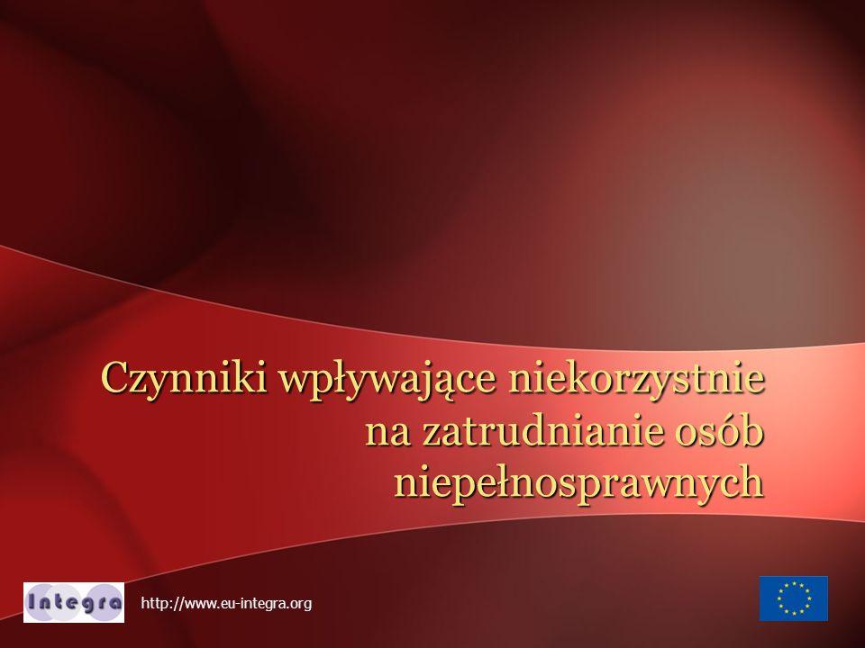 w Polsce jest ponad 5.5 mln osób niepełnosprawnych 84% - utrzymuje się głównie ze świadczeń społecznych: rent, emerytur i zasiłków 8% pracuje 8% pozos