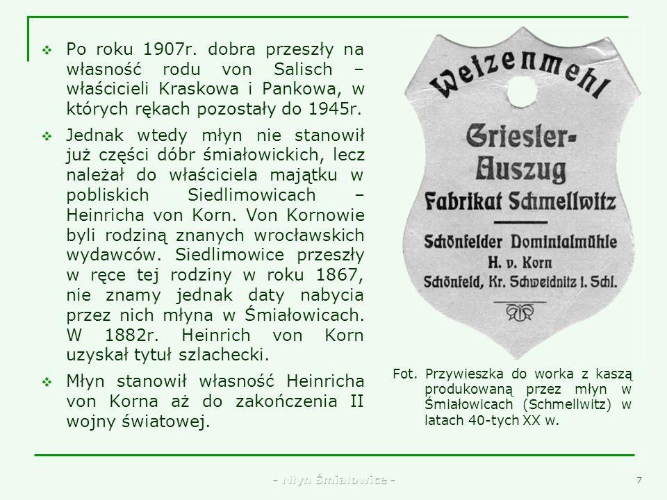 - Młyn Śmiałowice - 5 Jak przedstawiała się bryła młyna w latach 20-tych XX w. można zobaczyć na starym rysunku zdobiącym opakowanie mąki, gdzie grafi
