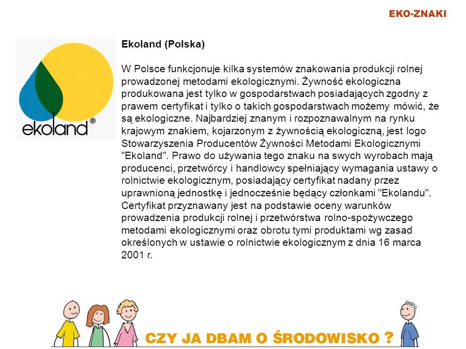 EKO-ZNAKI Ekoland (Polska) W Polsce funkcjonuje kilka systemów znakowania produkcji rolnej prowadzonej metodami ekologicznymi. Żywność ekologiczna pro