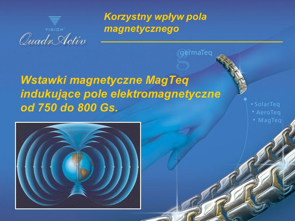 Korzystny wpływ pola magnetycznego Wstawki magnetyczne MagTeq indukujące pole elektromagnetyczne od 750 do 800 Gs.