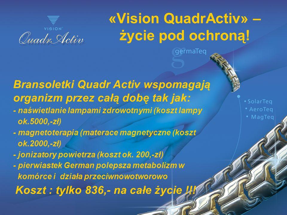 «Vision QuadrActiv» – życie pod ochroną! Bransoletki Quadr Activ wspomagają organizm przez całą dobę tak jak: - naświetlanie lampami zdrowotnymi (kosz