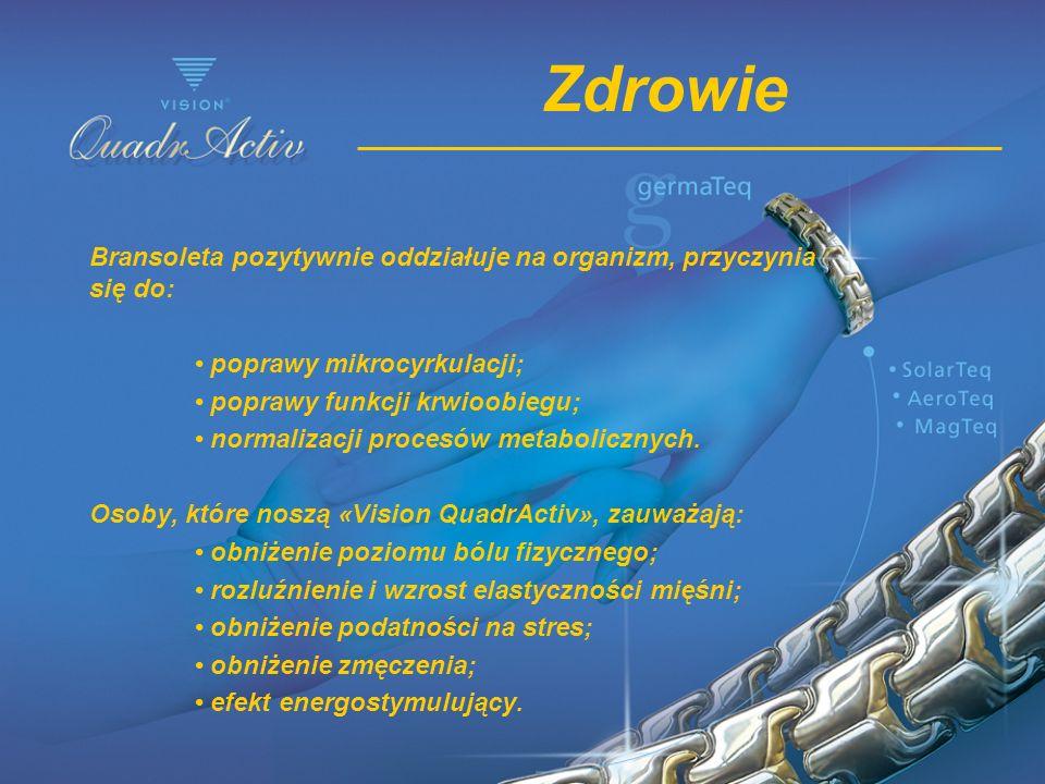 Zdrowie Bransoleta pozytywnie oddziałuje na organizm, przyczynia się do: poprawy mikrocyrkulacji; poprawy funkcji krwioobiegu; normalizacji procesów m