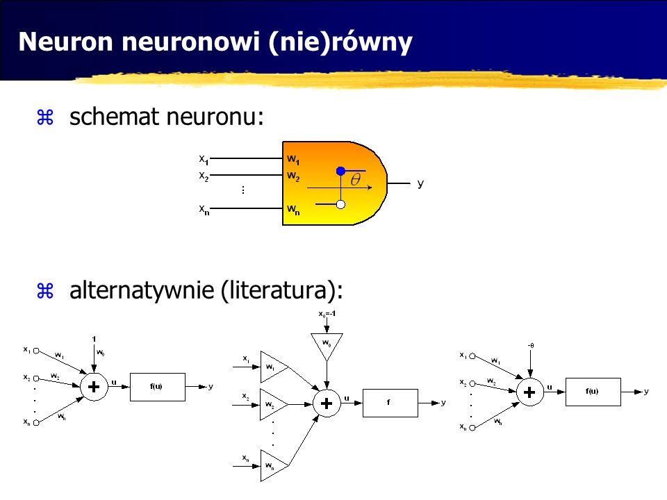 Neuron neuronowi (nie)równy schemat neuronu: alternatywnie (literatura):