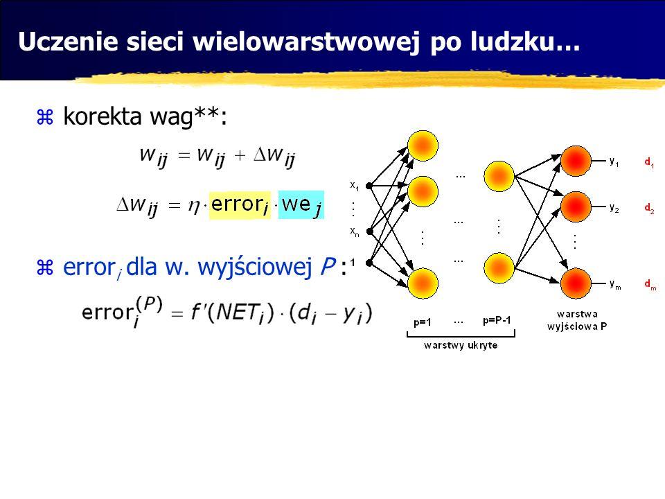 korekta wag**: error i dla w. wyjściowej P : Uczenie sieci wielowarstwowej po ludzku…