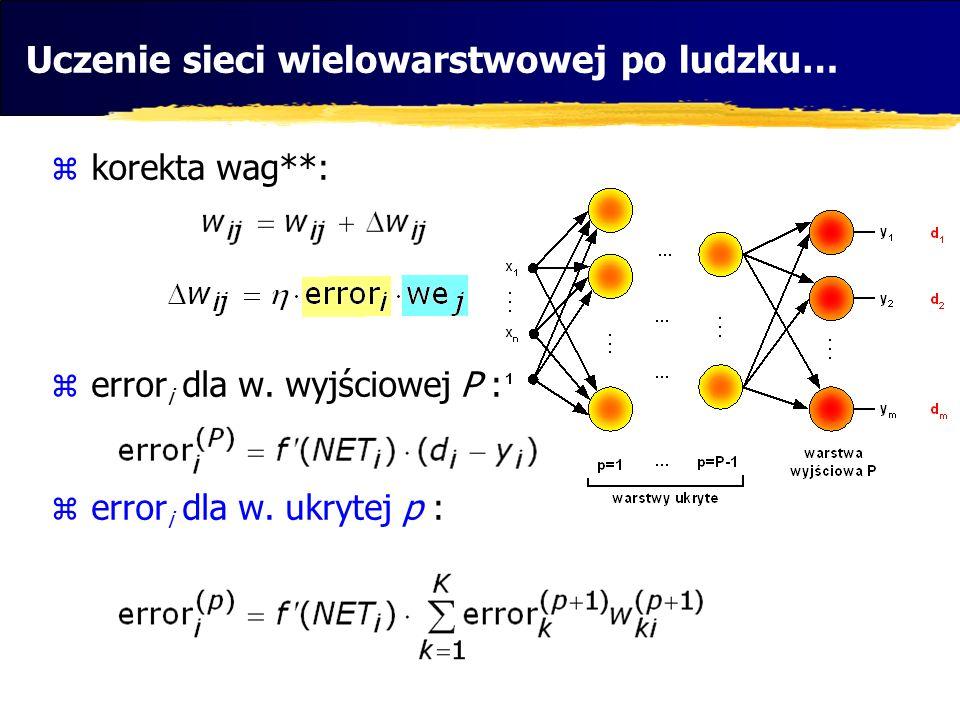 korekta wag**: error i dla w. wyjściowej P : error i dla w. ukrytej p : Uczenie sieci wielowarstwowej po ludzku…