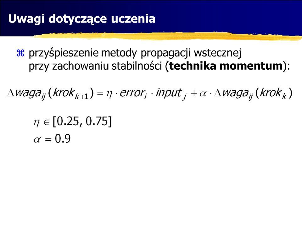 Uwagi dotyczące uczenia przyśpieszenie metody propagacji wstecznej przy zachowaniu stabilności (technika momentum):