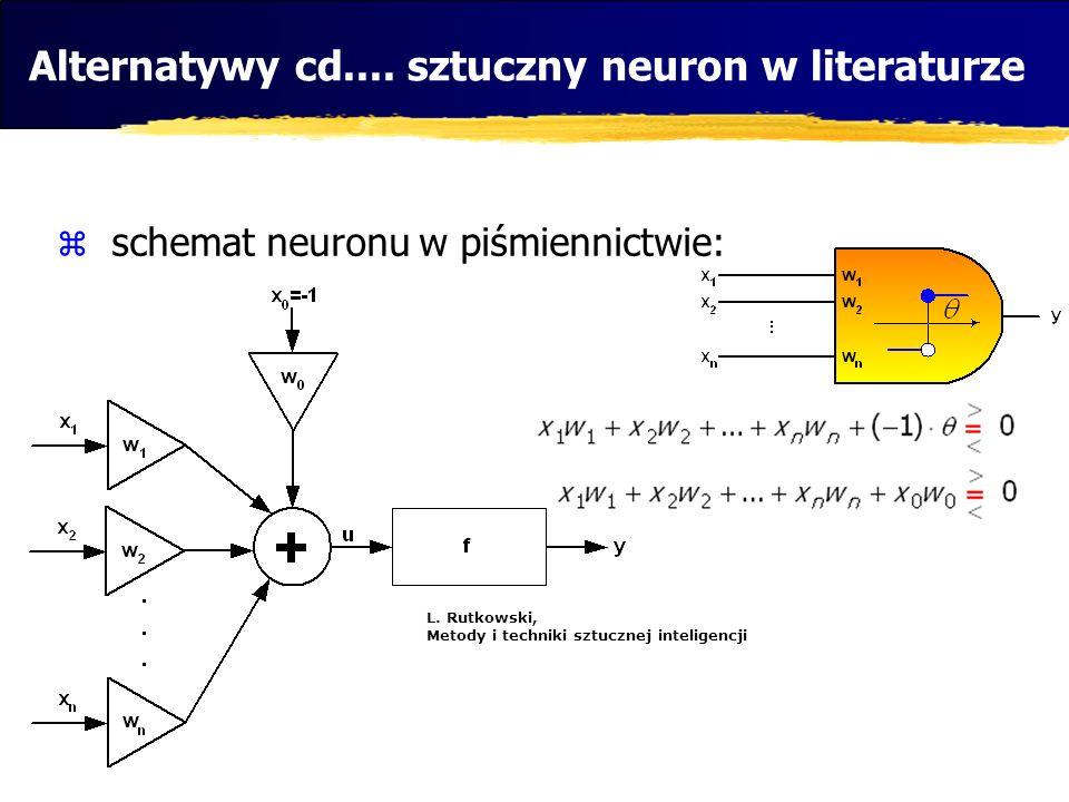 Alternatywy cd.... sztuczny neuron w literaturze schemat neuronu w piśmiennictwie: L. Rutkowski, Metody i techniki sztucznej inteligencji