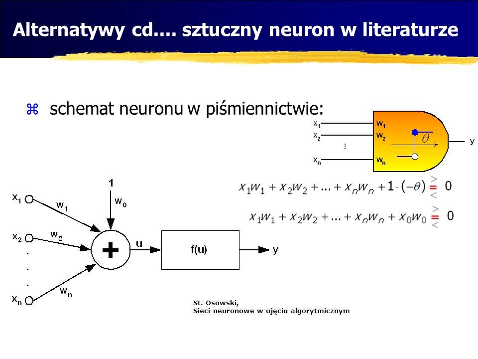 Alternatywy cd.... sztuczny neuron w literaturze schemat neuronu w piśmiennictwie: St. Osowski, Sieci neuronowe w ujęciu algorytmicznym