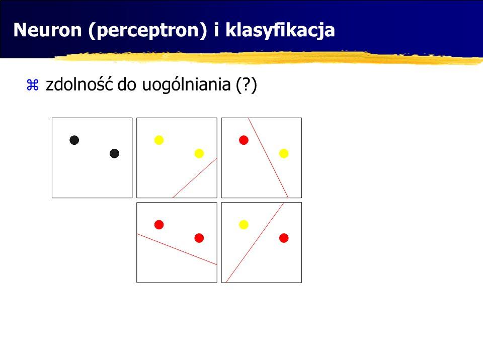 Neuron (perceptron) i klasyfikacja zdolność do uogólniania (?)