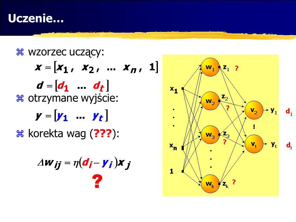 Uczenie… wzorzec uczący: otrzymane wyjście: korekta wag (???): ?