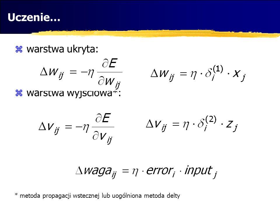 Uczenie… warstwa ukryta: warstwa wyjściowa*: * metoda propagacji wstecznej lub uogólniona metoda delty