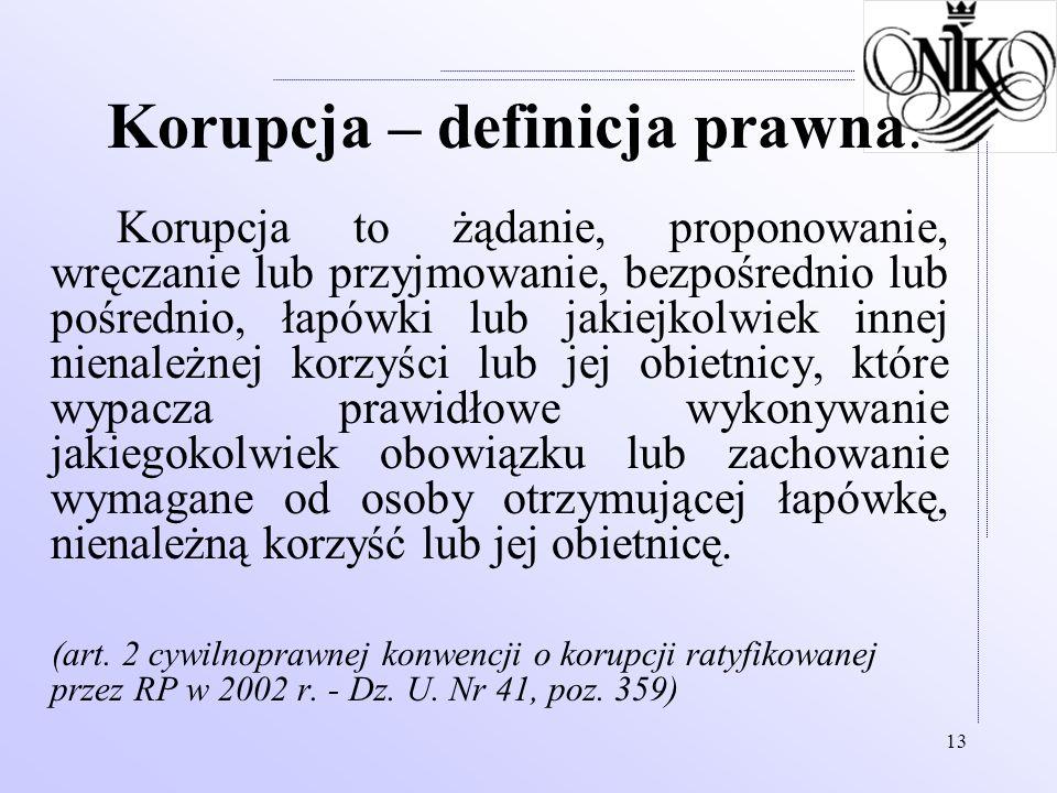 13 Korupcja – definicja prawna. Korupcja to żądanie, proponowanie, wręczanie lub przyjmowanie, bezpośrednio lub pośrednio, łapówki lub jakiejkolwiek i