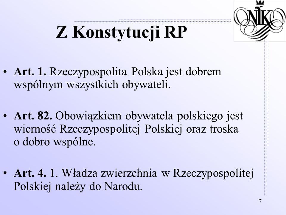 7 Z Konstytucji RP Art. 1. Rzeczypospolita Polska jest dobrem wspólnym wszystkich obywateli. Art. 82. Obowiązkiem obywatela polskiego jest wierność Rz