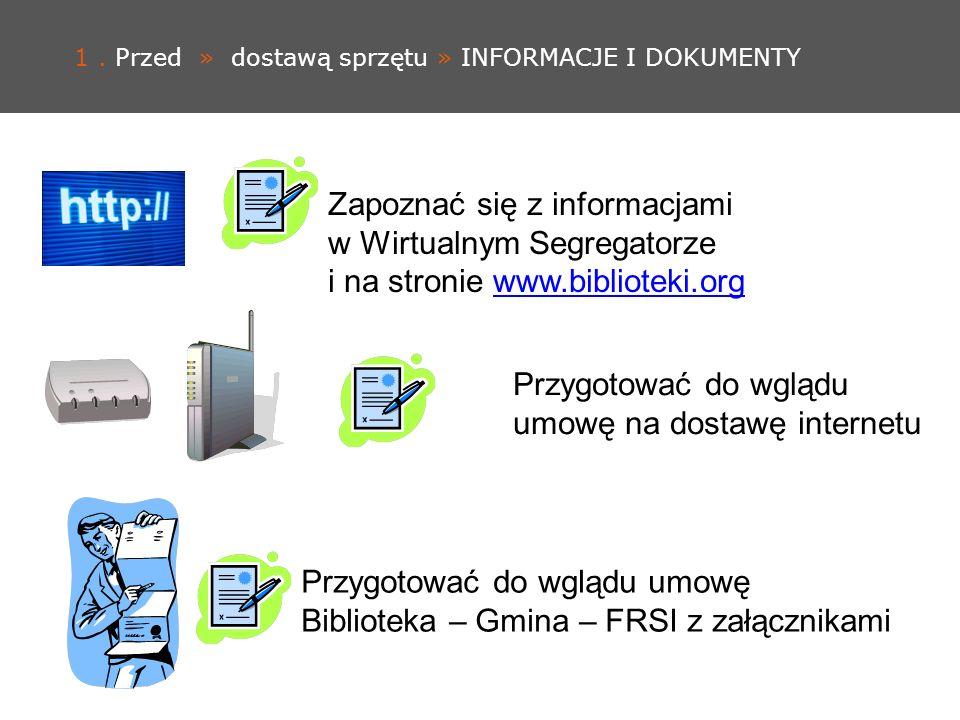 1. Przed » dostawą sprzętu » INFORMACJE I DOKUMENTY Zapoznać się z informacjami w Wirtualnym Segregatorze i na stronie www.biblioteki.orgwww.bibliotek