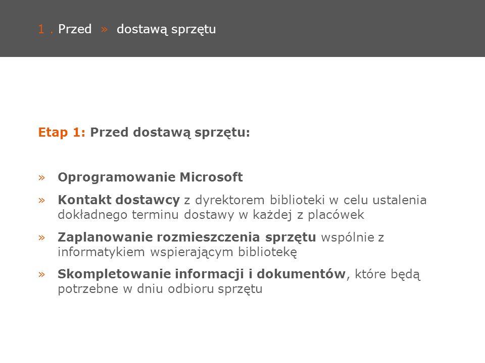 1. Przed » dostawą sprzętu Etap 1: Przed dostawą sprzętu: »Oprogramowanie Microsoft »Kontakt dostawcy z dyrektorem biblioteki w celu ustalenia dokładn