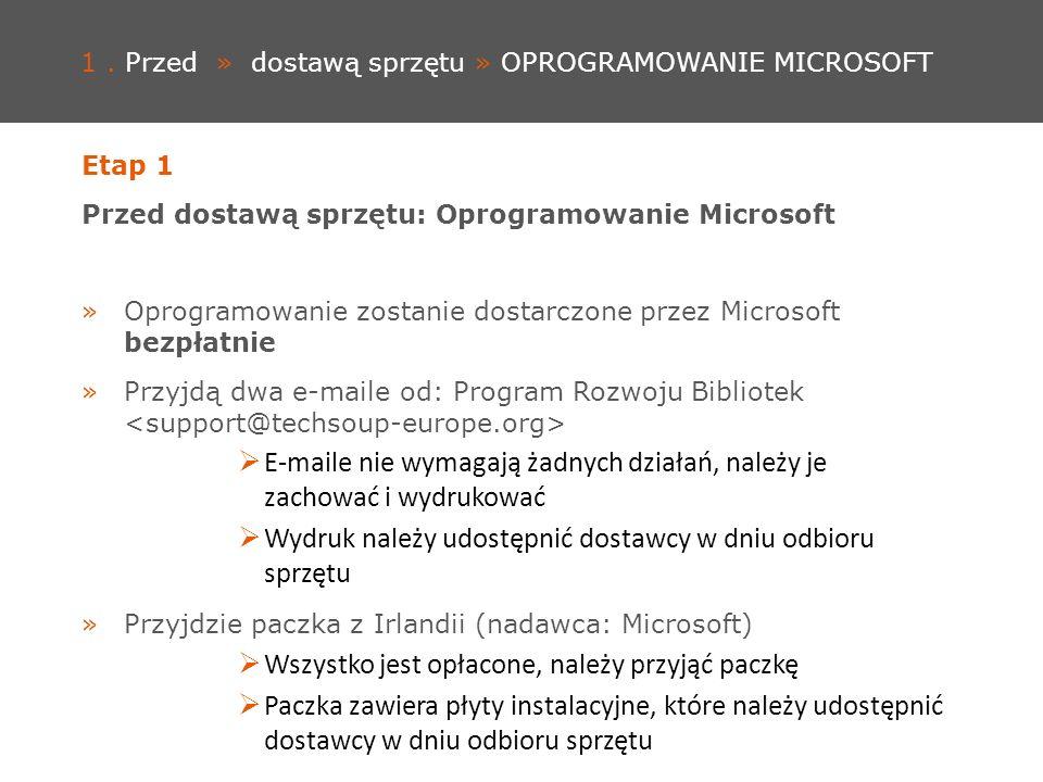 1. Przed » dostawą sprzętu » OPROGRAMOWANIE MICROSOFT Etap 1 Przed dostawą sprzętu: Oprogramowanie Microsoft »Oprogramowanie zostanie dostarczone prze