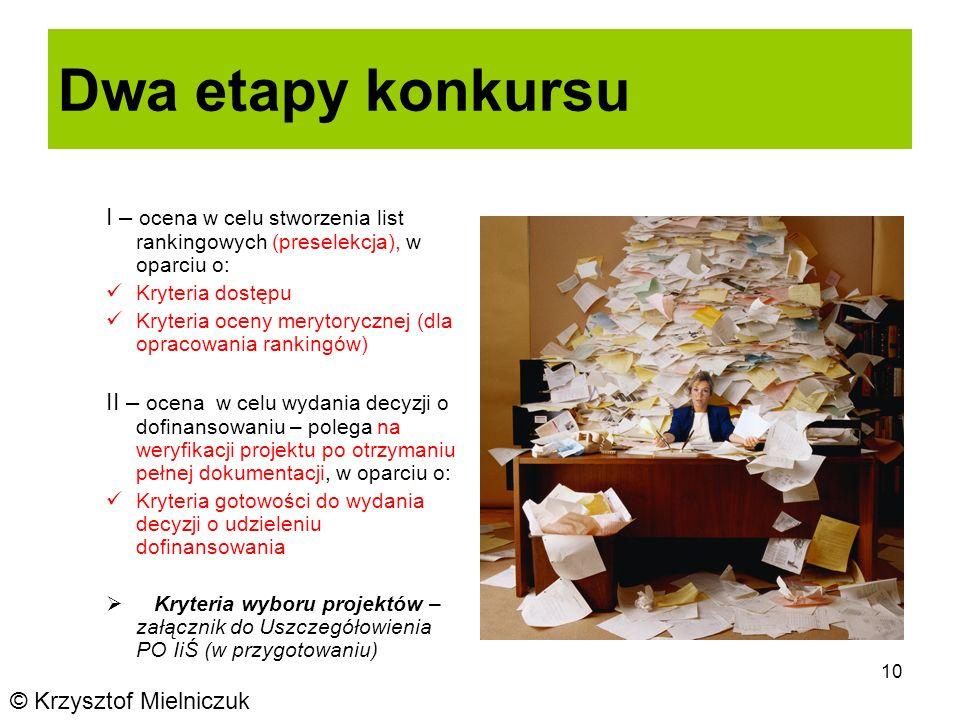 10 Dwa etapy konkursu I – ocena w celu stworzenia list rankingowych (preselekcja), w oparciu o: Kryteria dostępu Kryteria oceny merytorycznej (dla opracowania rankingów) II – ocena w celu wydania decyzji o dofinansowaniu – polega na weryfikacji projektu po otrzymaniu pełnej dokumentacji, w oparciu o: Kryteria gotowości do wydania decyzji o udzieleniu dofinansowania Kryteria wyboru projektów – załącznik do Uszczegółowienia PO IiŚ (w przygotowaniu) © Krzysztof Mielniczuk