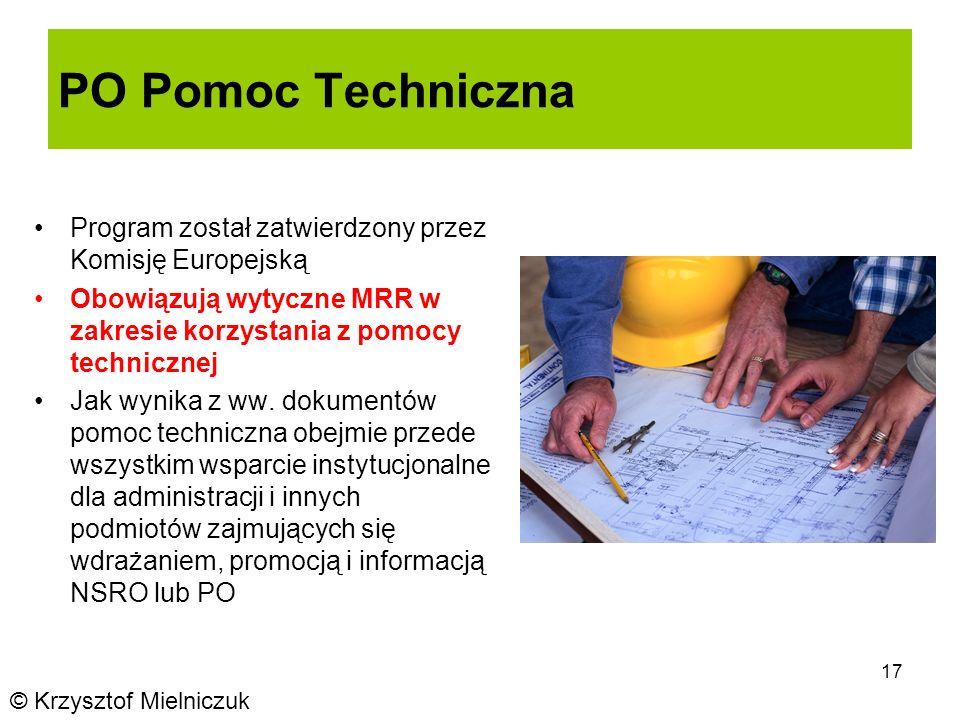 17 PO Pomoc Techniczna Program został zatwierdzony przez Komisję Europejską Obowiązują wytyczne MRR w zakresie korzystania z pomocy technicznej Jak wynika z ww.