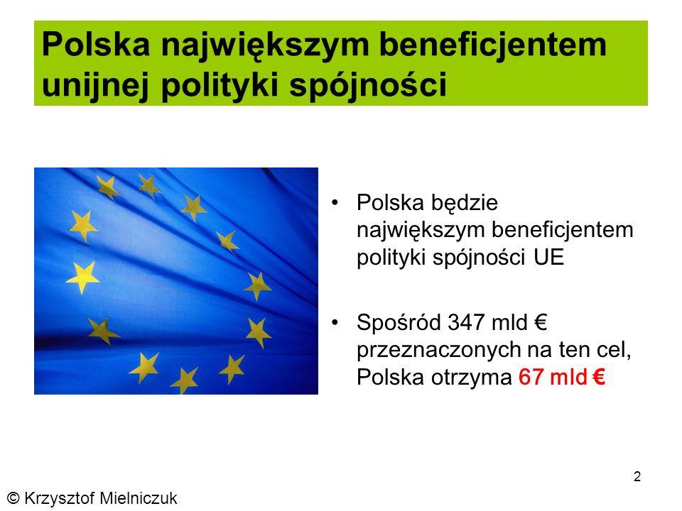 2 Polska największym beneficjentem unijnej polityki spójności Polska będzie największym beneficjentem polityki spójności UE Spośród 347 mld przeznaczonych na ten cel, Polska otrzyma 67 mld © Krzysztof Mielniczuk