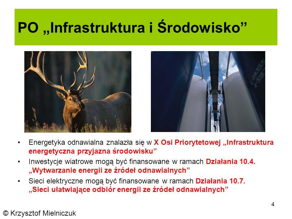 4 PO Infrastruktura i Środowisko Energetyka odnawialna znalazła się w X Osi Priorytetowej Infrastruktura energetyczna przyjazna środowisku Inwestycje wiatrowe mogą być finansowane w ramach Działania 10.4.