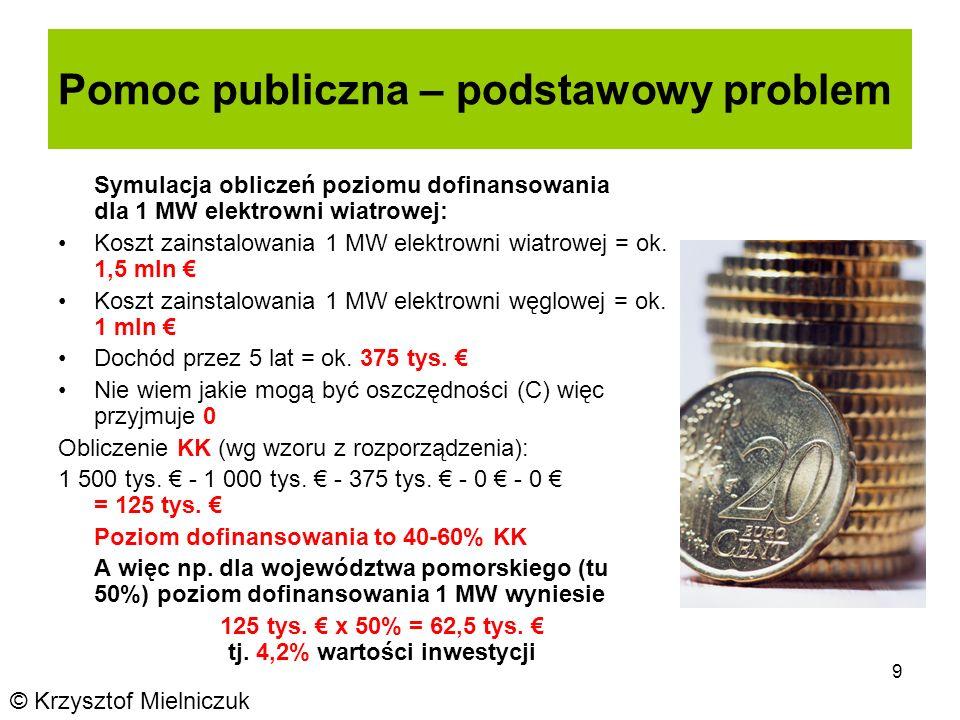 9 Pomoc publiczna – podstawowy problem © Krzysztof Mielniczuk Symulacja obliczeń poziomu dofinansowania dla 1 MW elektrowni wiatrowej: Koszt zainstalowania 1 MW elektrowni wiatrowej = ok.