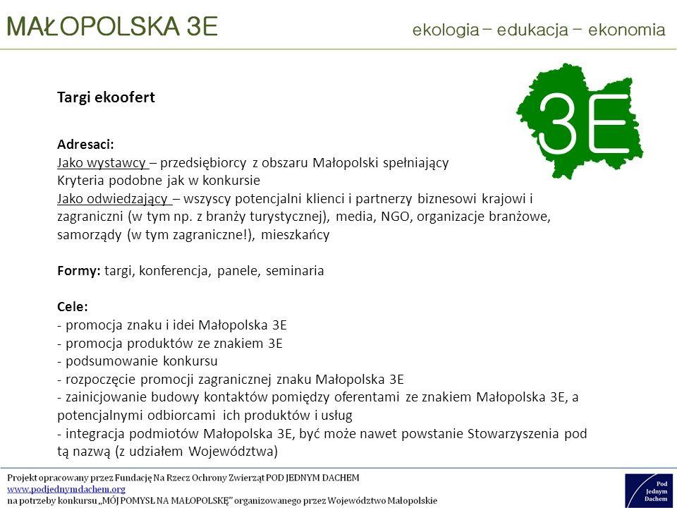Targi ekoofert Adresaci: Jako wystawcy – przedsiębiorcy z obszaru Małopolski spełniający Kryteria podobne jak w konkursie Jako odwiedzający – wszyscy