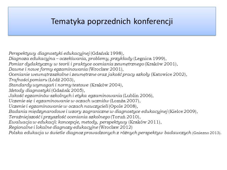 Tematyka poprzednich konferencji Perspektywy diagnostyki edukacyjnej (Gdańsk 1998), Diagnoza edukacyjna – oczekiwania, problemy, przykłady (Legnica 19