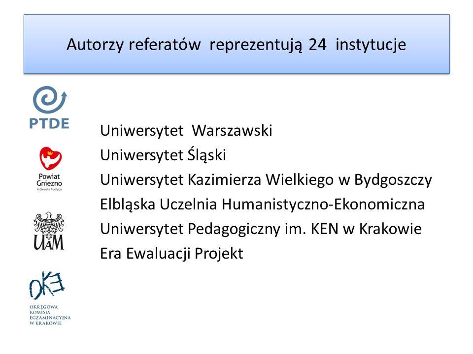 Autorzy referatów reprezentują 24 instytucje Uniwersytet Warszawski Uniwersytet Śląski Uniwersytet Kazimierza Wielkiego w Bydgoszczy Elbląska Uczelnia