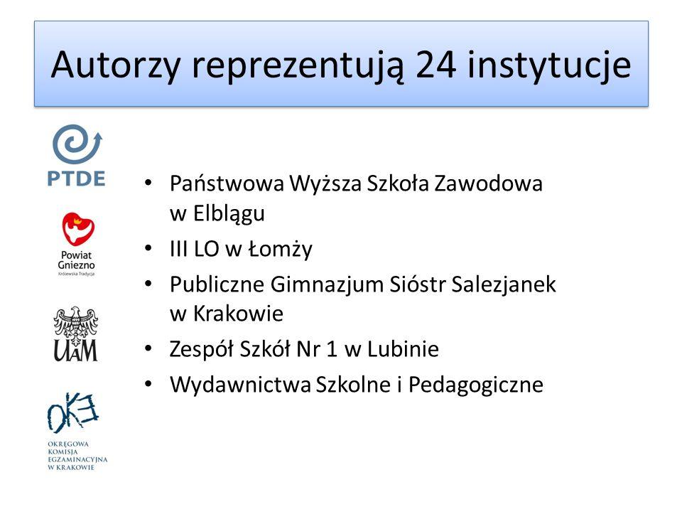 Autorzy reprezentują 24 instytucje Państwowa Wyższa Szkoła Zawodowa w Elblągu III LO w Łomży Publiczne Gimnazjum Sióstr Salezjanek w Krakowie Zespół S