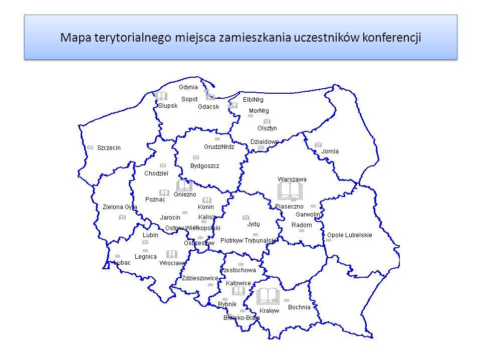 Mapa terytorialnego miejsca zamieszkania uczestników konferencji
