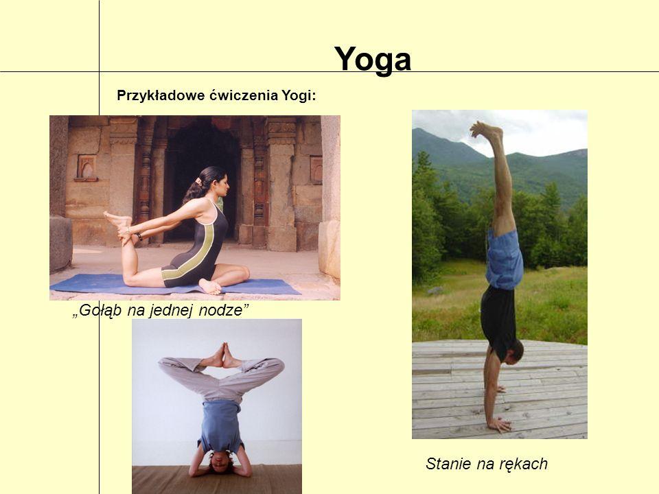 Yoga Przykładowe ćwiczenia Yogi: Gołąb na jednej nodze Stanie na rękach