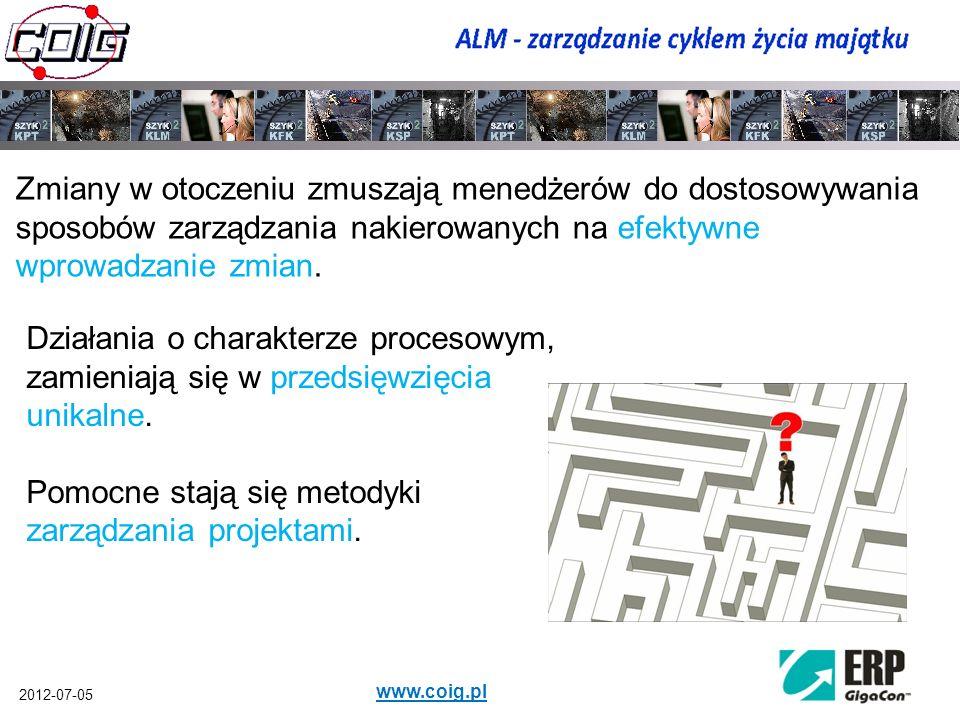 2012-07-05 www.coig.pl Zmiany w otoczeniu zmuszają menedżerów do dostosowywania sposobów zarządzania nakierowanych na efektywne wprowadzanie zmian. Dz