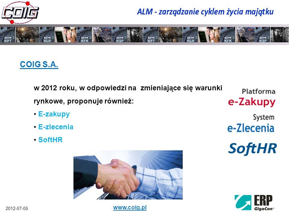 2012-07-05 www.coig.pl Z uwagi na monolityczny charakter większości systemów ERP (Enterprise Resource Planning), rynek wymusił powstawanie nowych rozwiązań specjalizowanych do wspomagania wybranych grup procesów biznesowych: CRM (Customer Relationship Management) SCM (Supply Chain Management) PLM (Product Life Cycle Management) EAM (Enterprise Asset Management) oraz ALM (Asset Life Cycle Management)