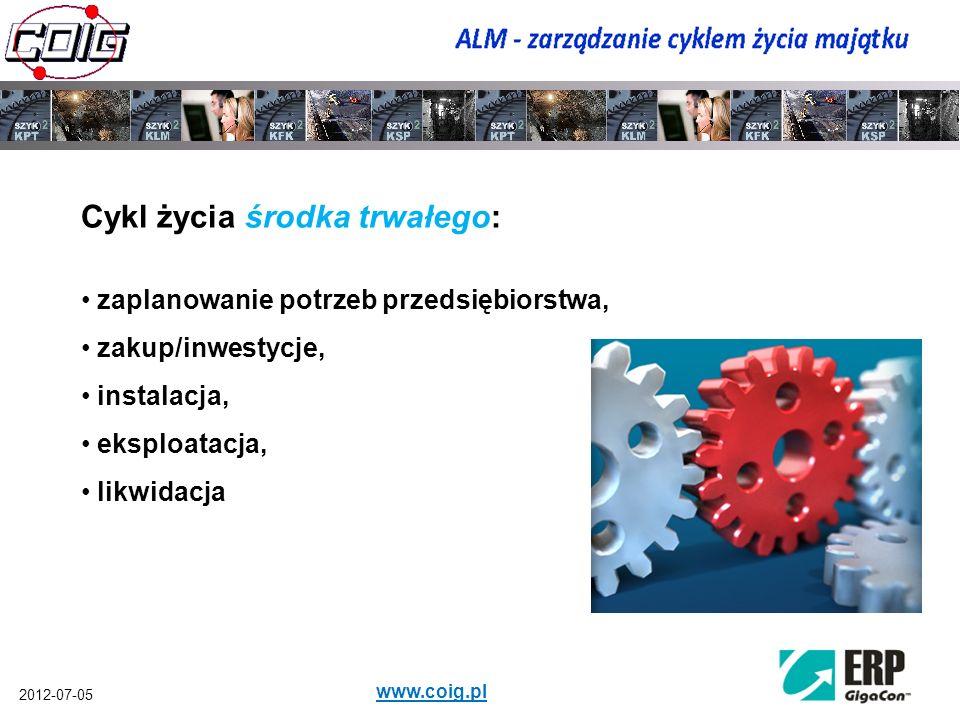2012-07-05 www.coig.pl Całkowity koszt cyklu życia środka trwałego: Koszt zakupu to zwykle mniej niż 20% całkowitego kosztu cyklu życia środka trwałego.