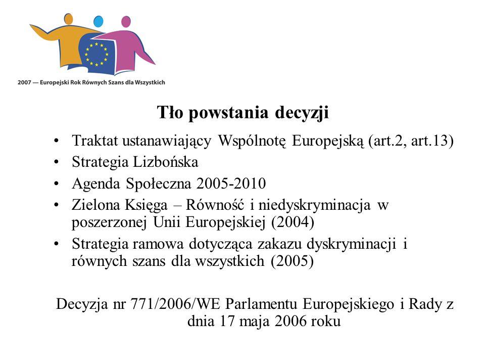 Tło powstania decyzji Traktat ustanawiający Wspólnotę Europejską (art.2, art.13) Strategia Lizbońska Agenda Społeczna 2005-2010 Zielona Księga – Równość i niedyskryminacja w poszerzonej Unii Europejskiej (2004) Strategia ramowa dotycząca zakazu dyskryminacji i równych szans dla wszystkich (2005) Decyzja nr 771/2006/WE Parlamentu Europejskiego i Rady z dnia 17 maja 2006 roku