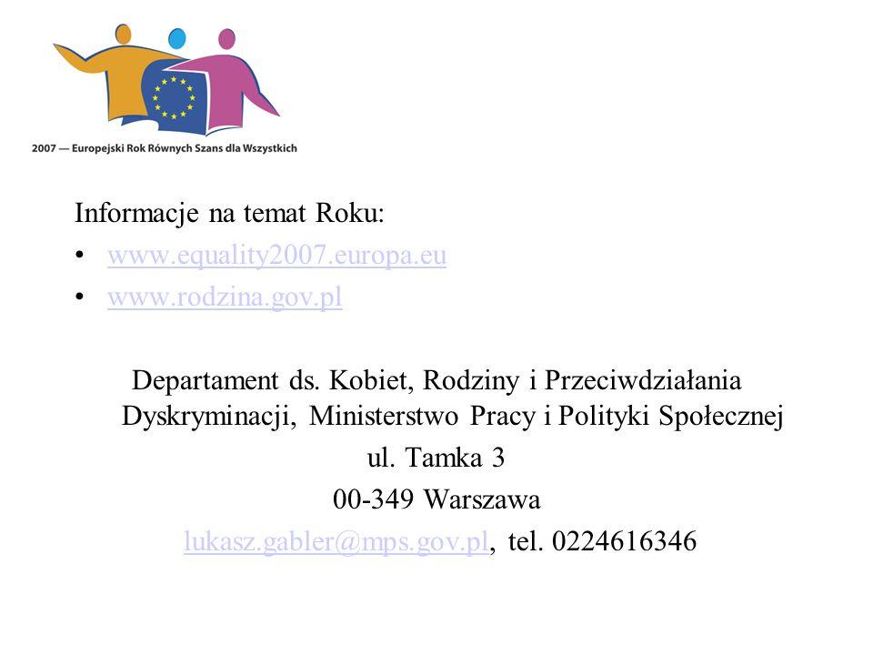 Informacje na temat Roku: www.equality2007.europa.eu www.rodzina.gov.pl Departament ds. Kobiet, Rodziny i Przeciwdziałania Dyskryminacji, Ministerstwo