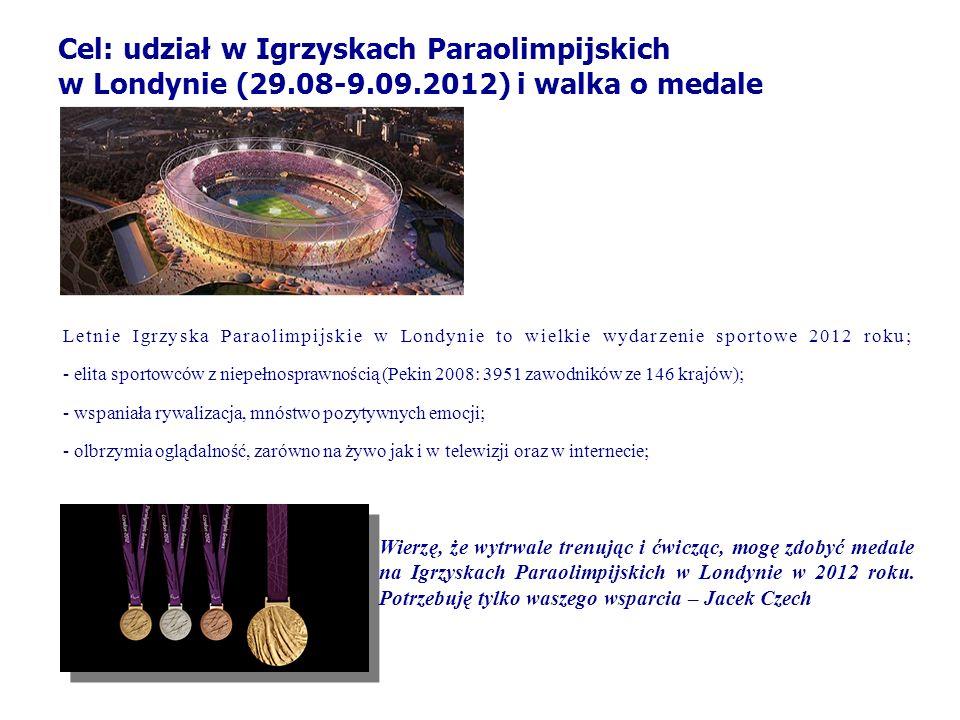 Cel: udział w Igrzyskach Paraolimpijskich w Londynie (29.08-9.09.2012) i walka o medale Letnie Igrzyska Paraolimpijskie w Londynie to wielkie wydarzen