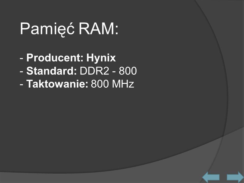 Procesor graficzny: - Model: Intel 82945GME Internal Graphics - Taktowanie: 166 MHz - Pamięć: Wydzielana z RAM - DirectX: Sprzętowa obsługa DirectX 9.0 Współpraca z matrycą panoramiczną LED o rozdzielczości maksymalnej 1024x600 pikseli