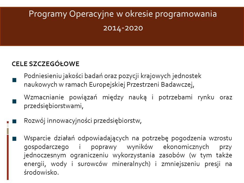 Programy Operacyjne w okresie programowania 2014-2020 CELE SZCZEGÓŁOWE Podniesieniu jakości badań oraz pozycji krajowych jednostek naukowych w ramach