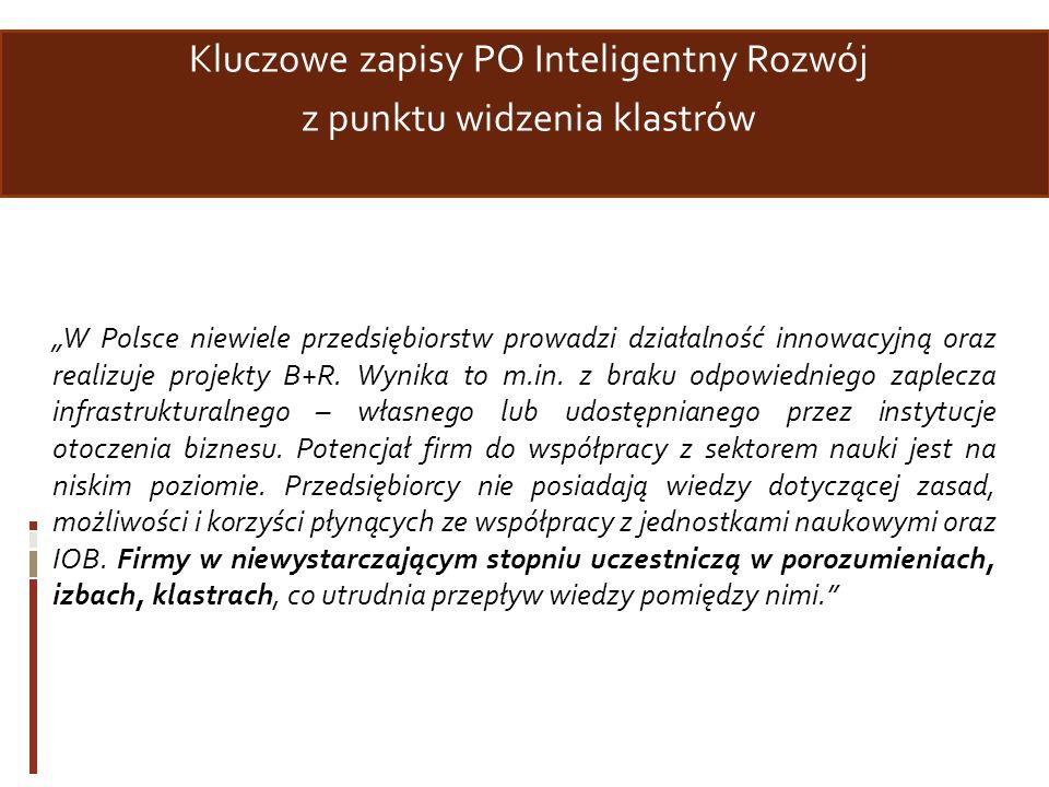 Kluczowe zapisy PO Inteligentny Rozwój z punktu widzenia klastrów W Polsce niewiele przedsiębiorstw prowadzi działalność innowacyjną oraz realizuje pr