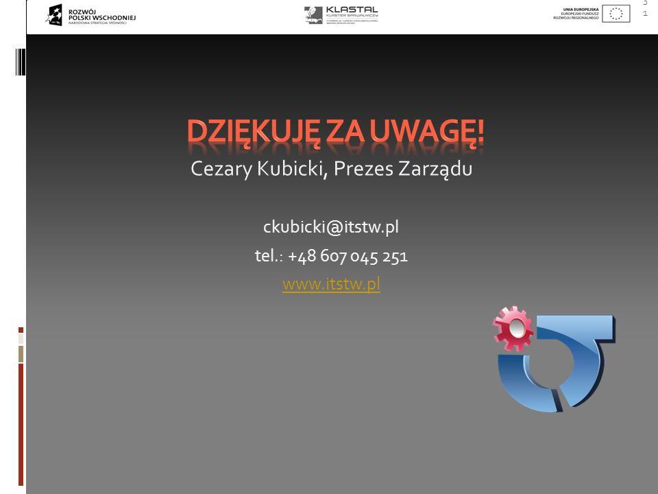 31 Cezary Kubicki, Prezes Zarządu ckubicki@itstw.pl tel.: +48 607 045 251 www.itstw.pl